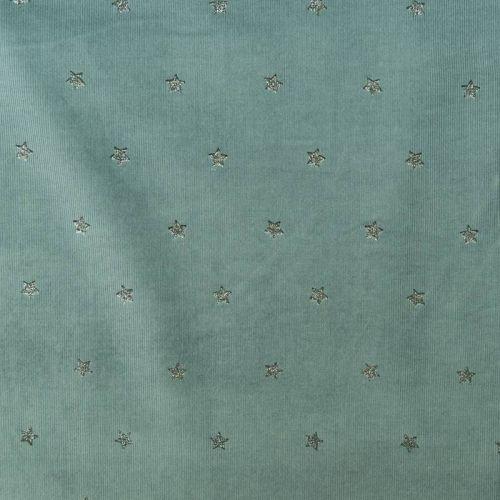 Velours côtelé bleu givré motif étoiles pailletées