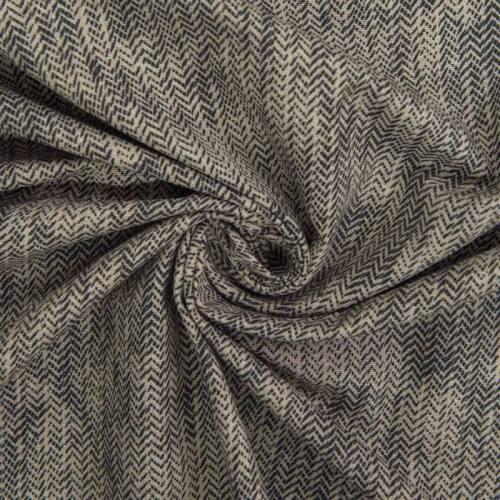 Toile polycoton grande largeur beige motif chevron réglisse