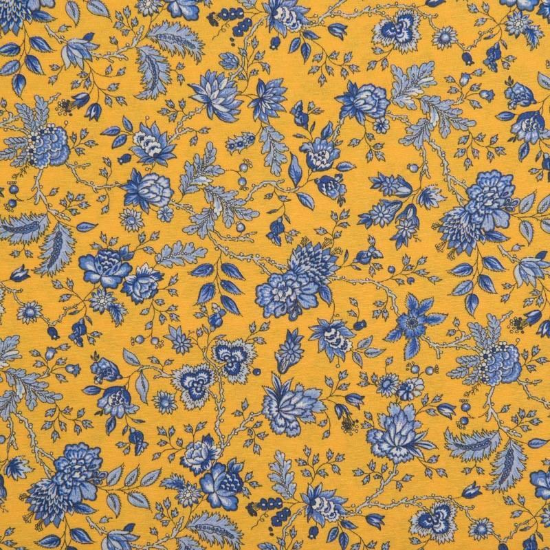 toile polycoton grande largeur jaune motif floral bleu. Black Bedroom Furniture Sets. Home Design Ideas