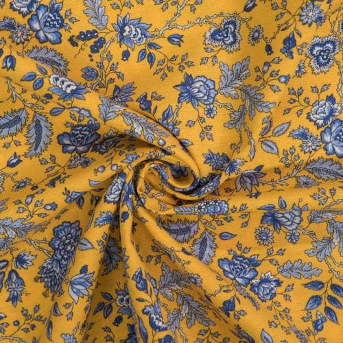 Toile polycoton grande largeur jaune motif floral bleu