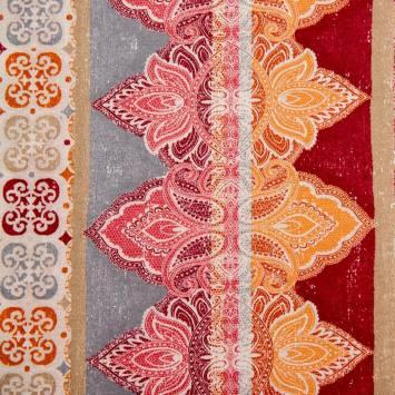 Toile polycoton grande largeur rouge, beige et orange motif cachemire