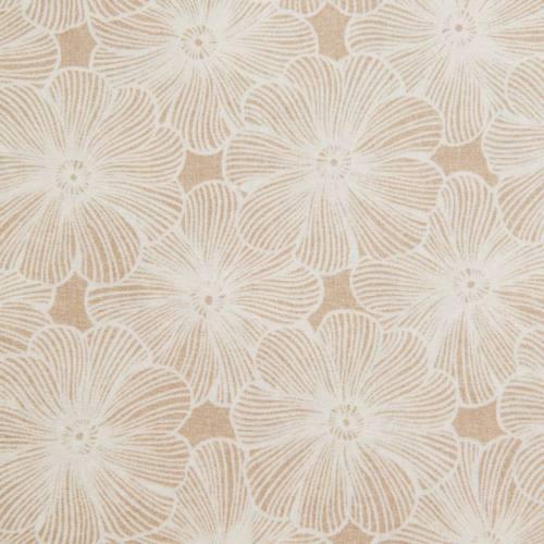 Toile polycoton grande largeur beige motif fleur diva blanche Oeko-tex