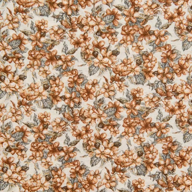 toile polycoton grande largeur crue motif fleurs de cerisier noisette. Black Bedroom Furniture Sets. Home Design Ideas