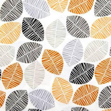 Toile polycoton grande largeur blanche motif feuille orange