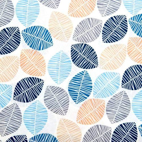 Toile polycoton grande largeur blanche motif feuille bleue