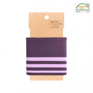 Bord-côte violet à rayures parme