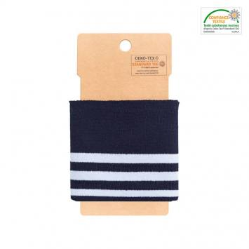 Bord-côte bleu marine à rayures bleu pastel