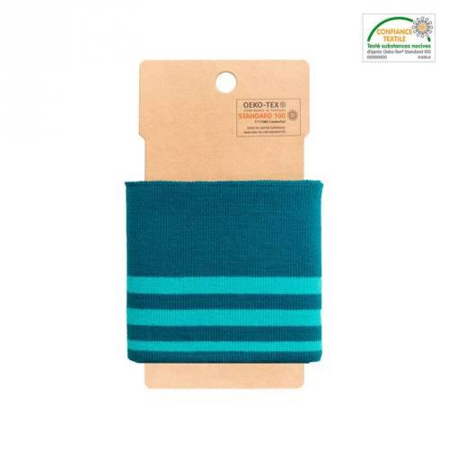 Bord-côte bleu canard à rayures turquoise