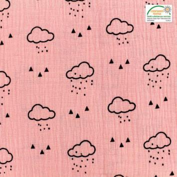 Double gaze rose motif nuage, pluie et triangle