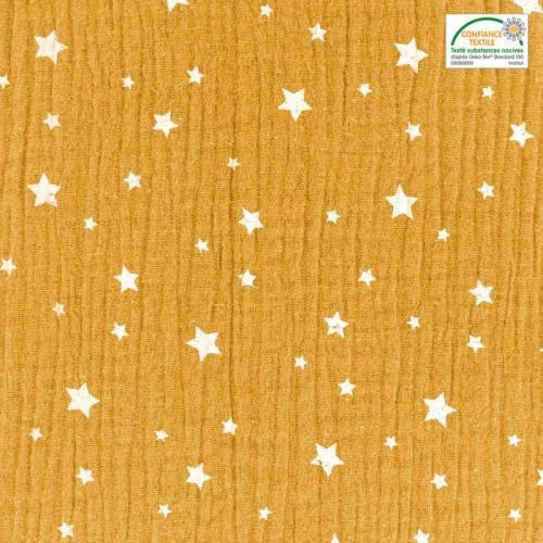 Double gaze ocre motif étoile blanche