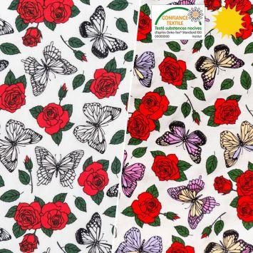 Jersey magique motif roses et papillons