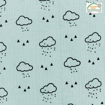 Double gaze menthe claire motif nuage, pluie et triangle