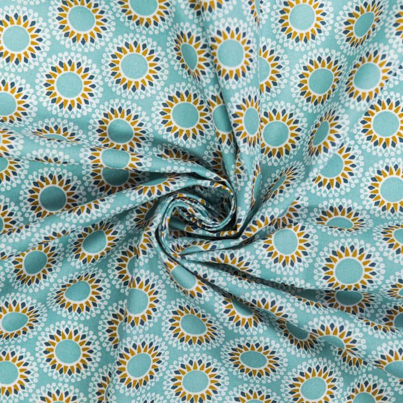 Coton bleu givré motif malawa ocre et bleu marine