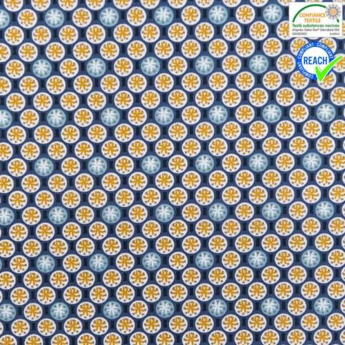 Coton bleu foncé motif rixos ocre