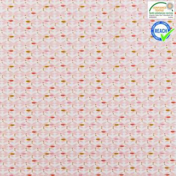 Coton blanc motif bejart rose