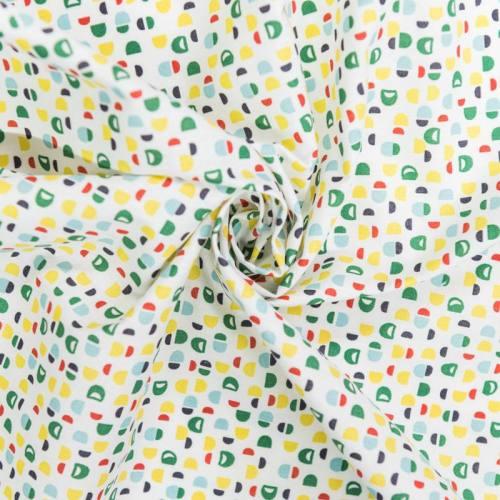 Coton blanc motif toco vert, jaune et orange