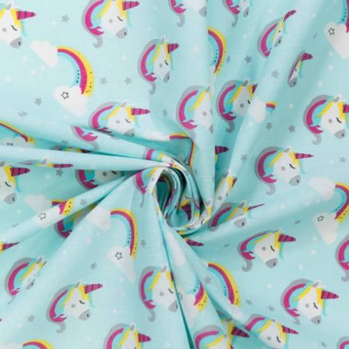 Coton turquoise motif licorne lily