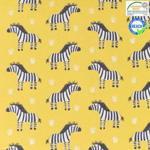 Coton jaune anis motif zebro