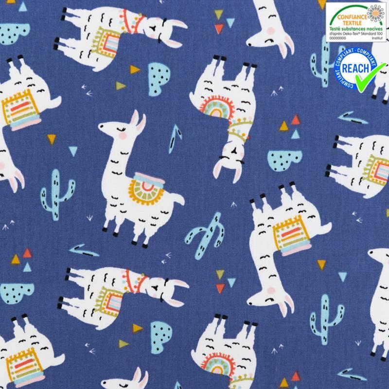 Coton bleu indigo motif lama bleu lagon
