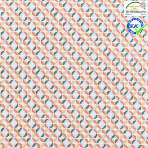Coton blanc motif zeleo vert d'eau et corail