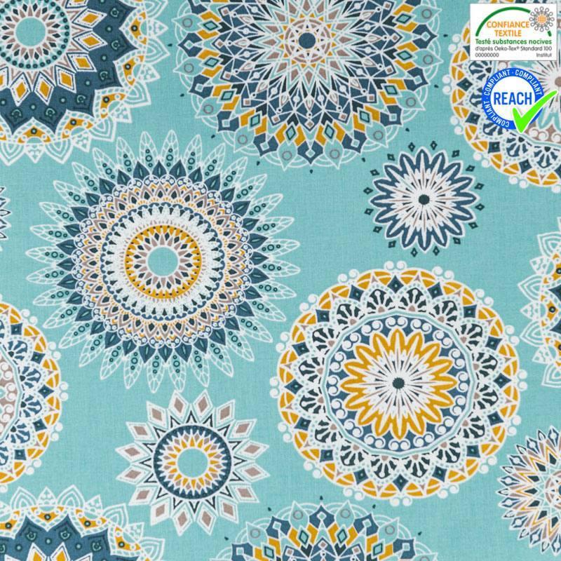 Coton bleu lagon motif manija ocre