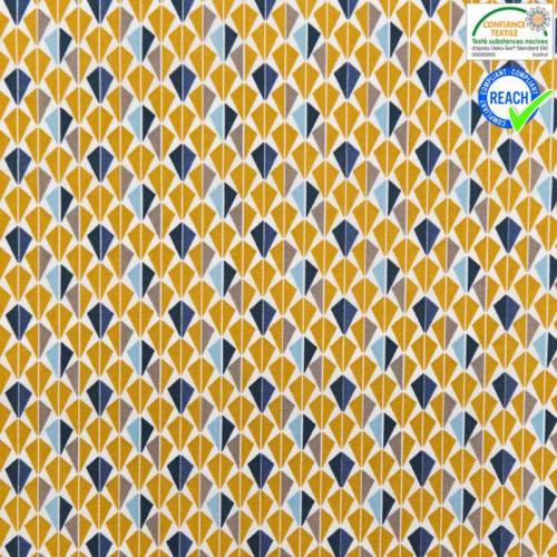 Coton blanc motif odeca ocre et bleu marine