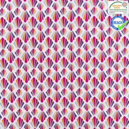 Coton blanc motif payani fuchsia et violet
