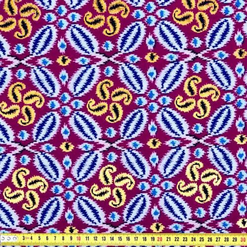 Wax - Tissu africain prune, bleu et doré 260