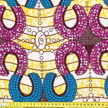 Wax - Tissu africain jaune, bleu et violet 257