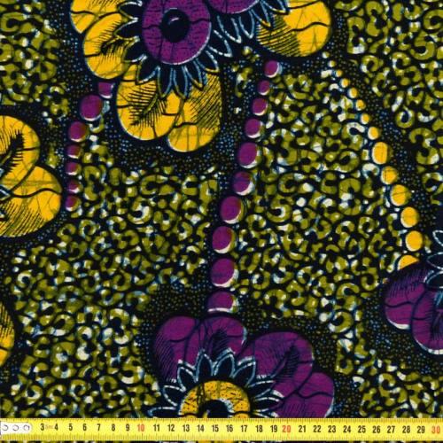 Wax - Tissu africain jaune vert et violet 252