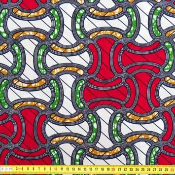 Wax - Tissu africain vert jaune rouge et bleu 250
