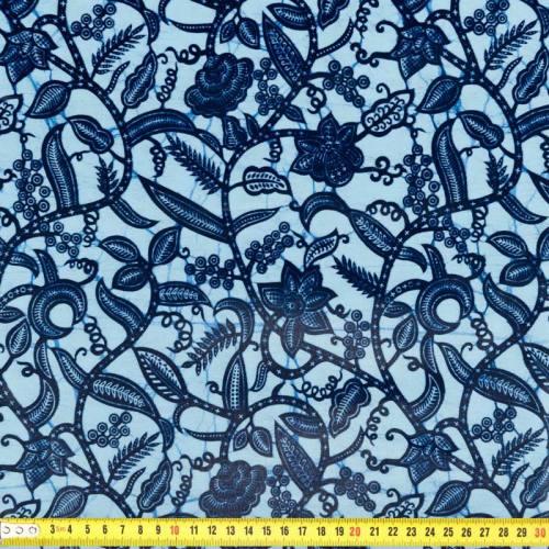 Wax - Tissu africain enduit bleu clair et bleu marine 280