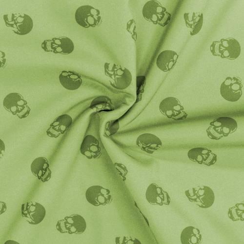 Tissu softshell magique vert pomme motif tête de mort