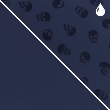 Tissu softshell magique bleu éclipse motif tête de mort