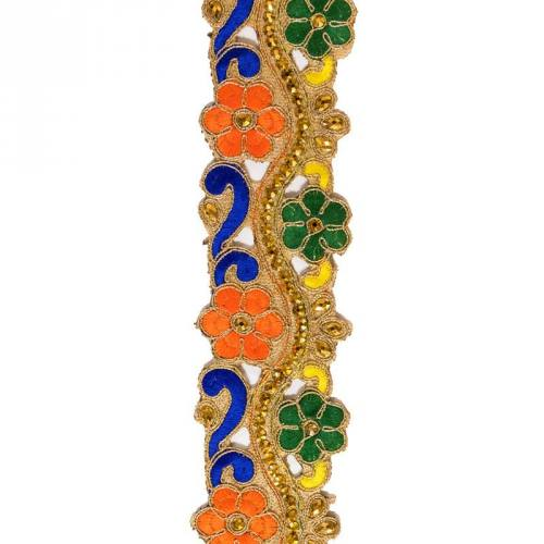 Galon indien fleurs multicolores et dorées