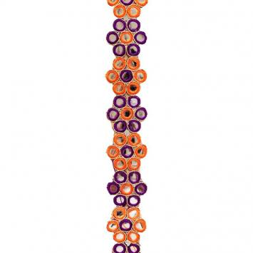 Galon indien orange et violet à miroirs ronds