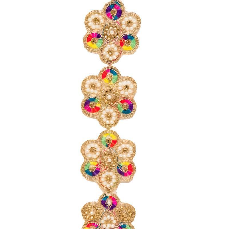 Galon Broderies MulticoloresDorées Et Indien Perles QxdthsrCB