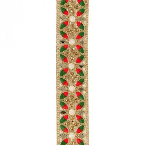 Galon indien vert, rouge, doré à strass