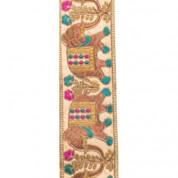 Galon indien doré motif éléphant violet et bleu canard