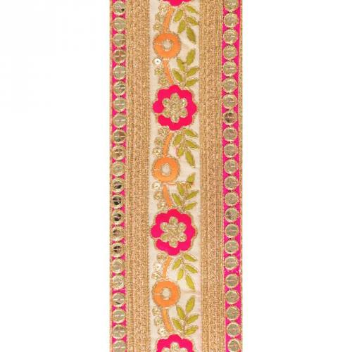 Galon indien doré motif fleur rose et orange