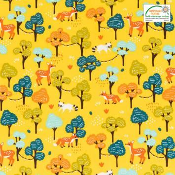 Coton jaune imprimés animaux et forêt