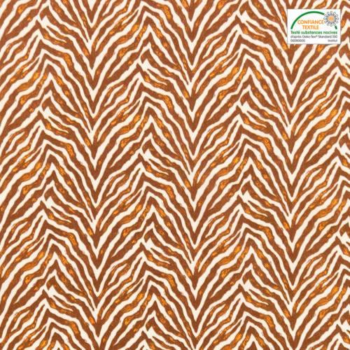 Coton écru imprimé zèbre marron