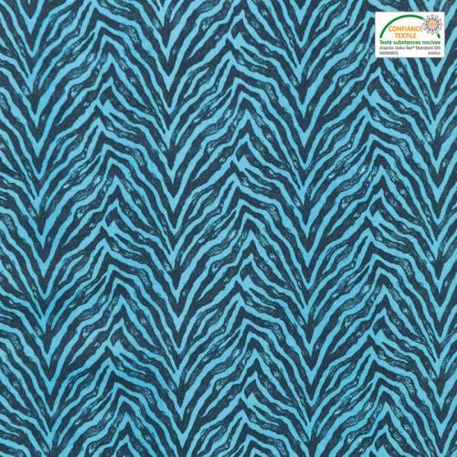 Coton bleu imprimé zèbre