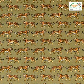 Coton kaki imprimé tigre