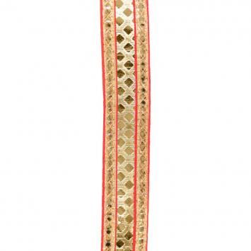 Galon indien rouge broderies reliefs dorés