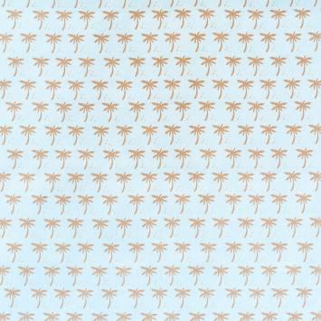 Coton bleu imprimé palmier doré