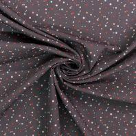Popeline de coton grise à rond rose et bleu