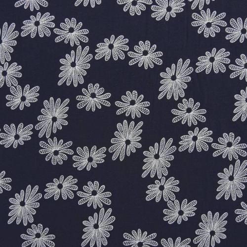coupon - Coupon 0.57m - Voile de coton bleu marine motif fleur