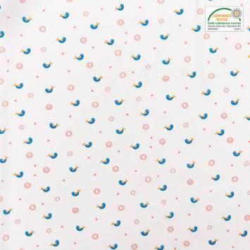 Popeline de coton blanche motif fleur et oiseau