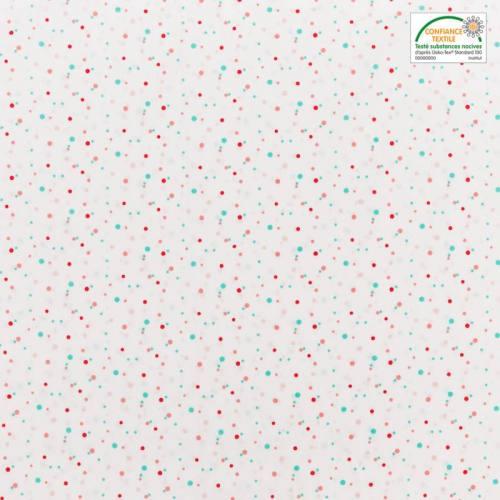 Popeline de coton blanche à rond vert et rouge